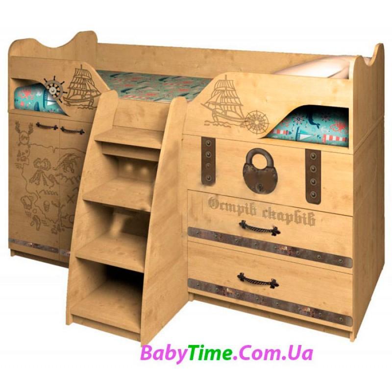 Детская кровать чердак- комната ОСТРОВ СОКРОВИЩ