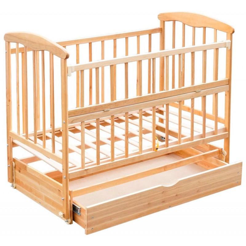 Детская кроватка Наталка откидная боковина с маятником и ящиком