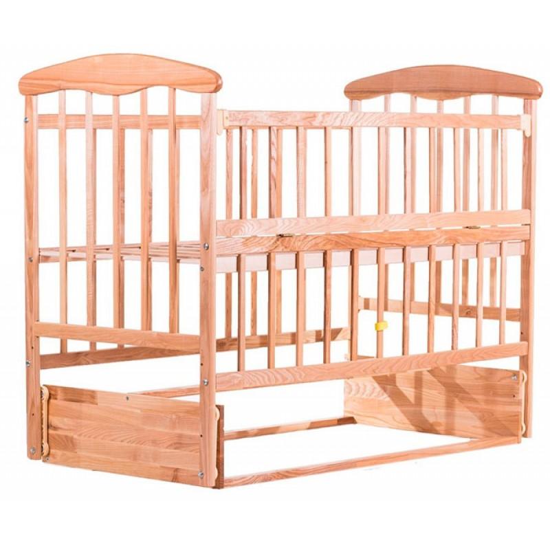 Детская кроватка Наталка откидная боковина с маятник (ясень)