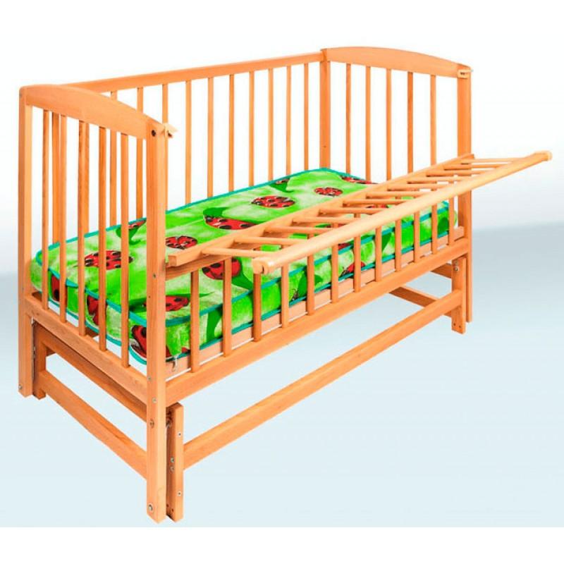 Детская кроватка Гойдалка на шарнирах с откидной боковиной (бук)