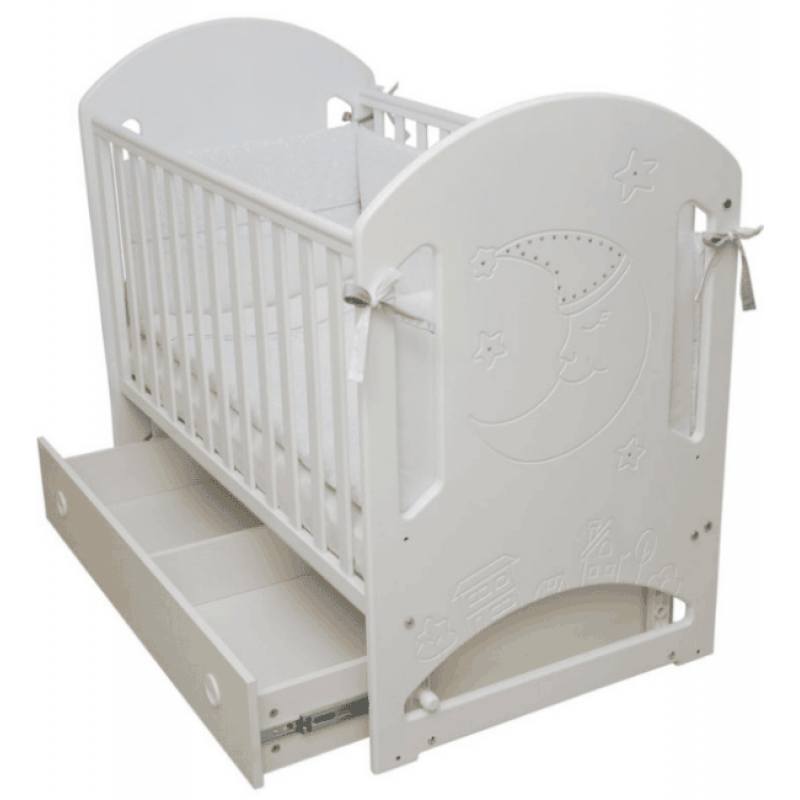 Кроватка для новорожденного Соня ЛД-8 резьба Месяц