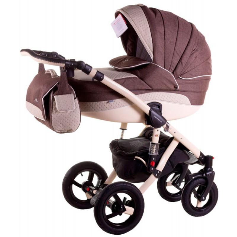 Детская коляска 2 в 1 Adamex Aspena 50% кожа