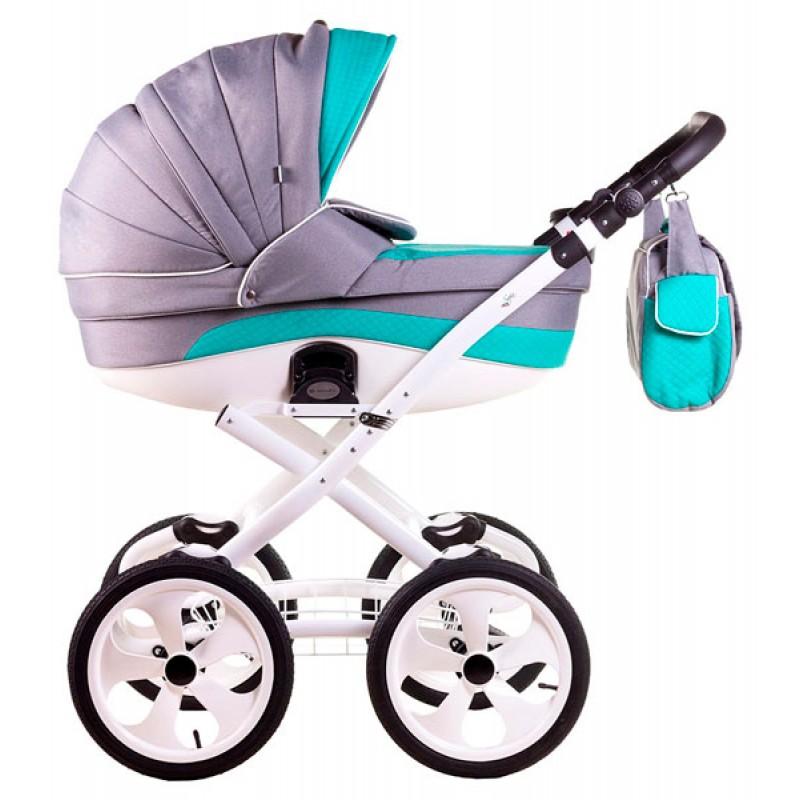 Детская коляска для новорожденного 2 в 1 Adamex Sofia 50% кожа