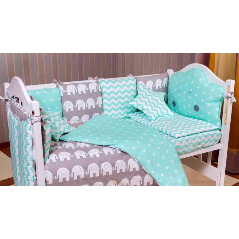 Детская постель Бортики Babyroom lux 9 элементов Elephant